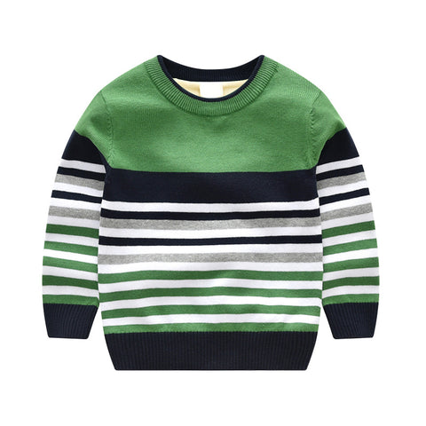 Boy Cotton Round Neck Striped Sweater