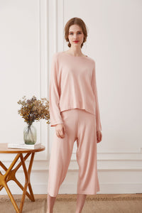 Silk Cashmere Loungewear Set, Blush