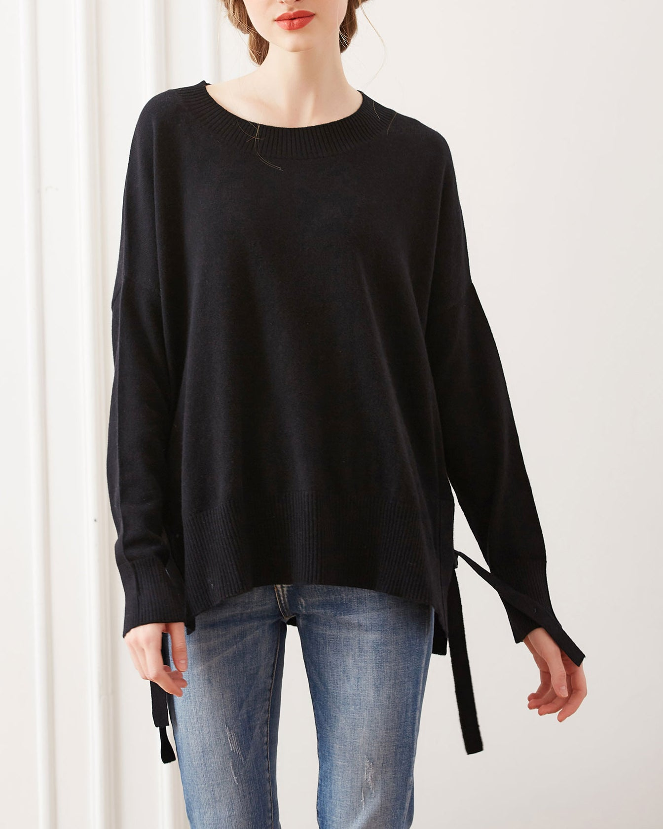 Side Tie Cashmere Crewneck Sweater, Black