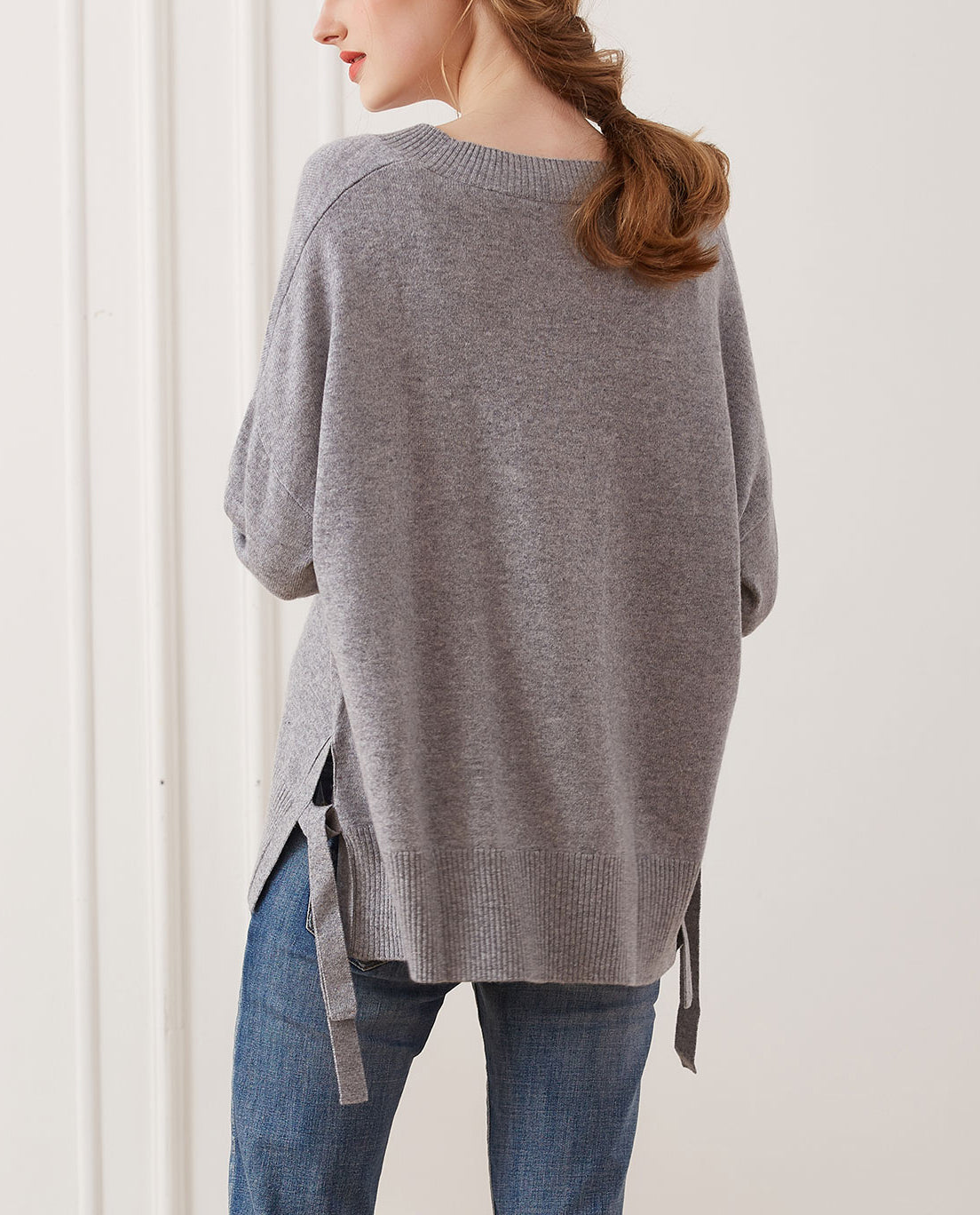 Side Tie Cashmere Crewneck Sweater, Grey