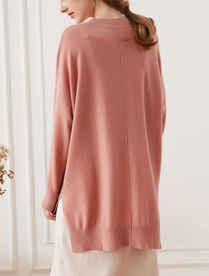 Classic Cashmere Crewneck Sweater, Dusty Rose
