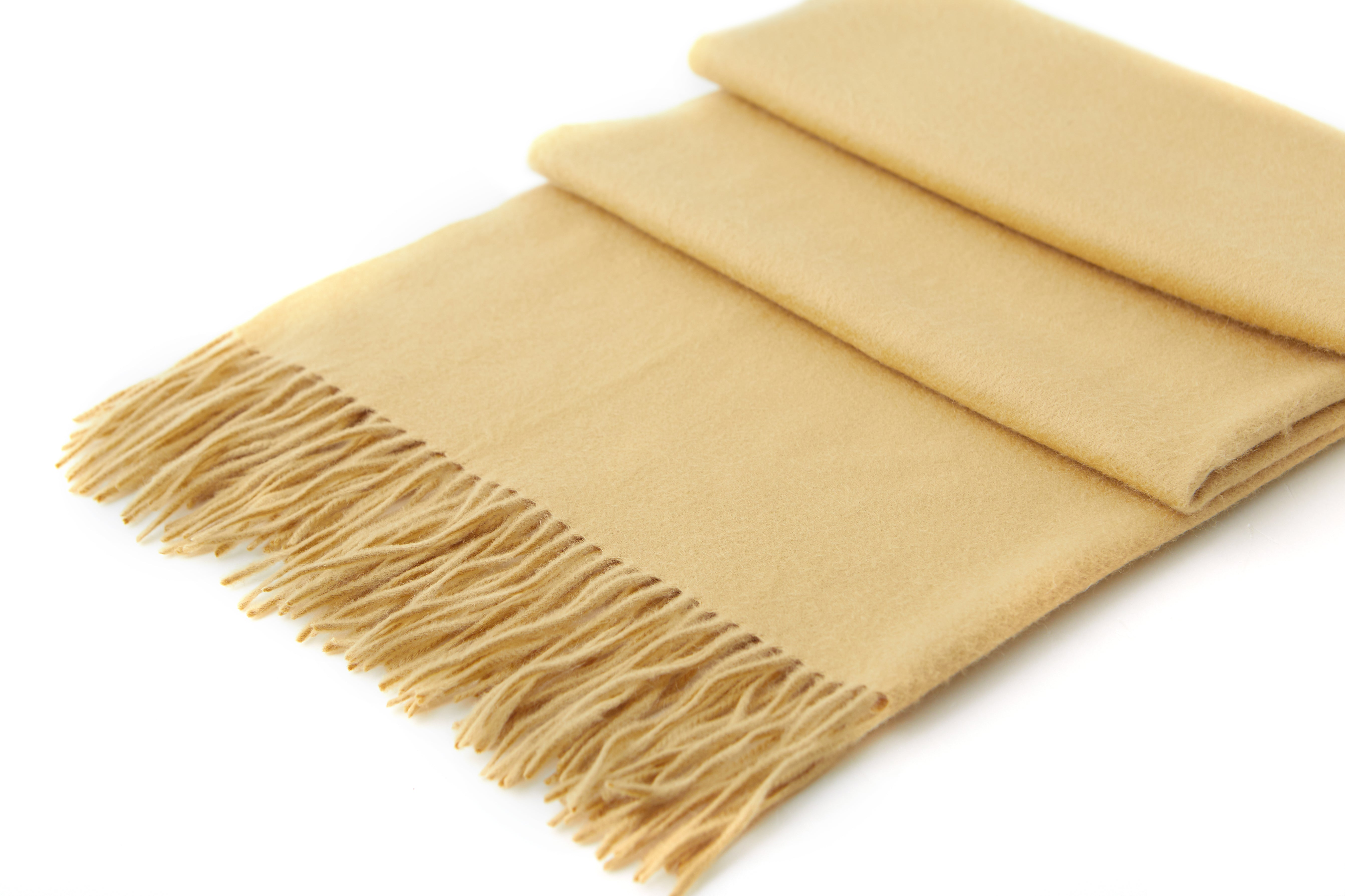 Large Cashmere Scarf, Camel