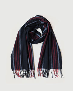 Superfine Striped Cashmere Scarf, Black