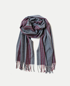 Superfine Striped Cashmere Scarf, Grey