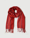 Superfine Striped Cashmere Scarf, Red