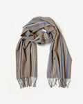 Superfine Striped Cashmere Scarf, Taupe