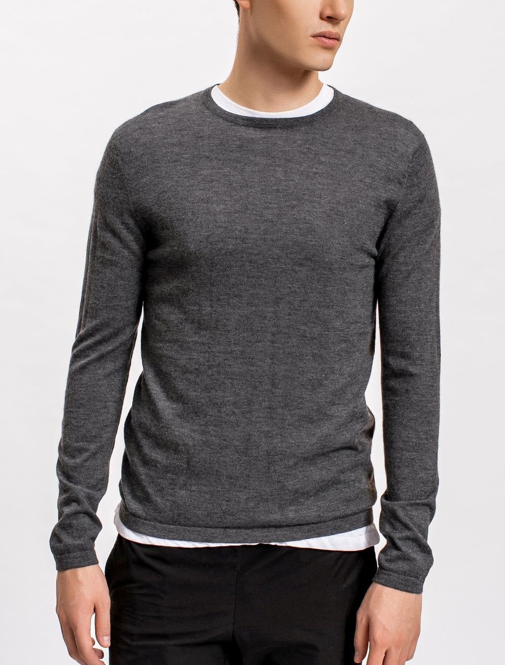 Superfine Cashmere Crewneck Sweater, Charcoal
