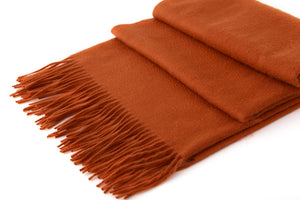 Large Cashmere Scarf, Burnt Orange