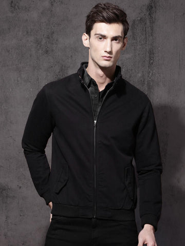 Roadster Men Black Solid Bomber Jacket