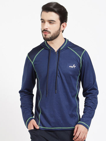 FiTZ Men Blue Solid Hood T-shirt