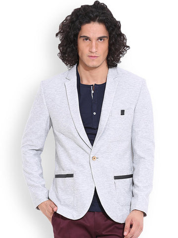 MR BUTTON Grey Melange Single-Breasted Slim Structured Fit Casual Blazer