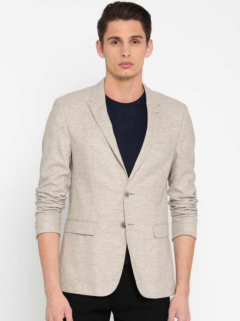 7eb30331f4 Tommy Hilfiger Off-White   Grey Self-Design Slim Fit Single-Breasted Casual