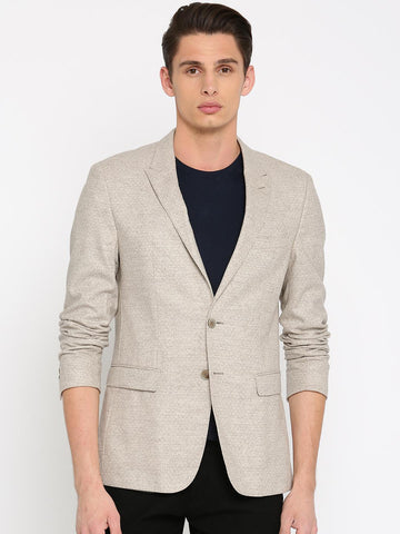 Tommy Hilfiger Off-White & Grey Self-Design Slim Fit Single-Breasted Casual Blazer