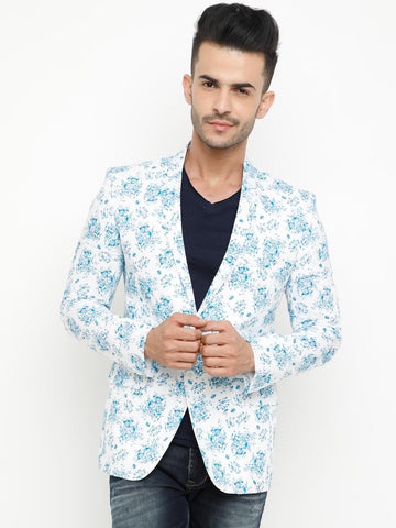 SHOWOFF Men White & Blue Printed Slim Fit Casual Blazer