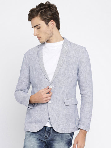 Jack & Jones Men Navy & White Striped Linen Single-Breasted Casual Blazer