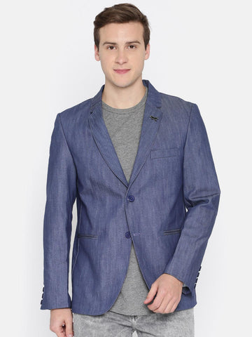 The Indian Garage Co Blue Casual Slim Fit Single-Breasted Blazer
