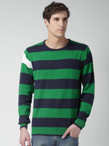 Mast & Harbour Men Green & Navy Striped Sweater