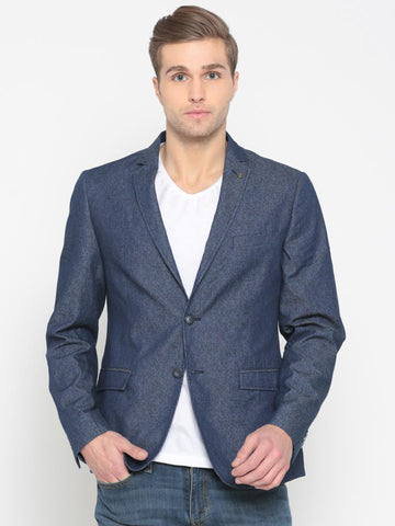 V Dot Blue Printed Slim Fit Single-Breasted Casual Blazer