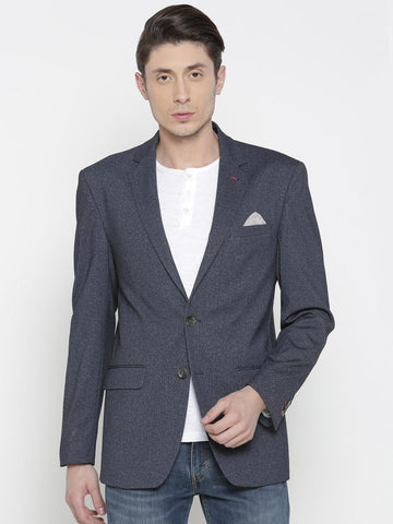 Allen Solly Men Navy Patterned Single-Breasted Slim Fit Casual Blazer