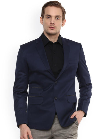 Ennoble Men Navy Blue Solid Single-Breasted Tailored Fit Formal Blazer