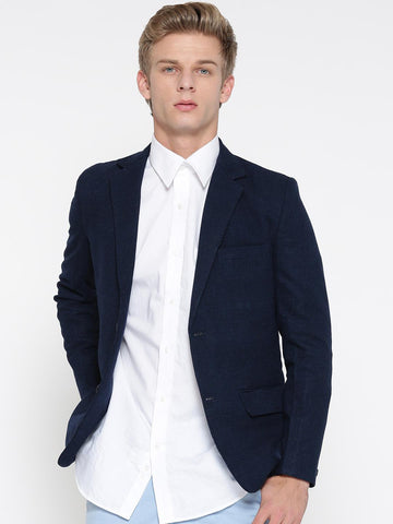 Fort Collins Navy Single-Breasted Slim Fit Casual Blazer