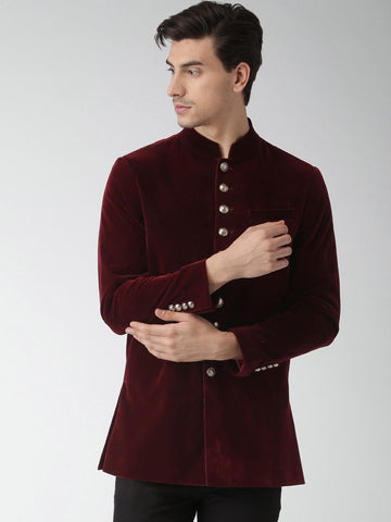 INVICTUS Maroon Slim Fit Single-Breasted Ethnic Bandhgala Blazer