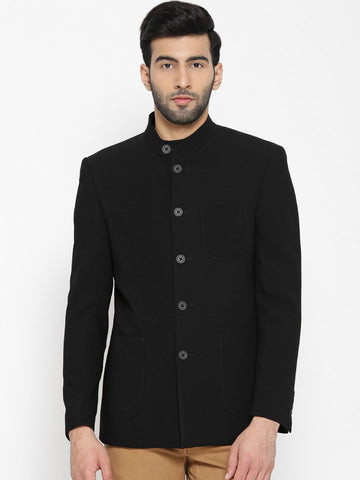 Blackberrys Black Single-Breasted Slim Fit Quilted Ethnic Bandhgala Blazer