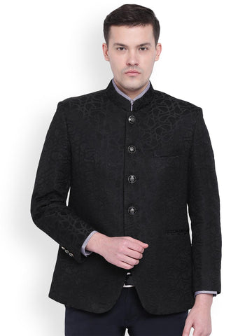 Wineberry Men Black Self-Design Tailored Fit Bandhgala