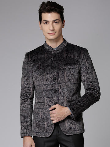 True Blue Charcoal Grey Printed Bandhgala Blazer With Velvet Finish