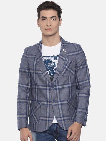 The Indian Garage Co Grey & Navy Blue Single-Breasted Checked Slim Fit Casual Blazer