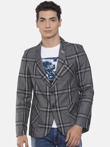 The Indian Garage Co Grey Single-Breasted Checked Slim Fit Casual Blazer