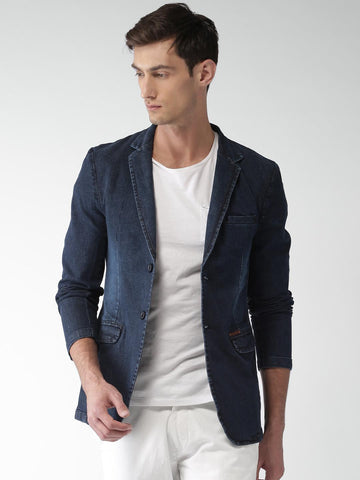 Mast & Harbour Navy Denim Regular Fit Single-Breasted Casual Blazer