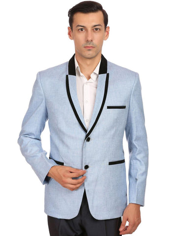 Wintage Men Blue Single-Breasted Tailored Fit Casual Blazer