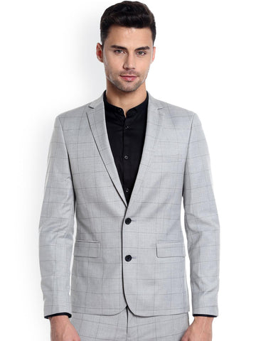 Jack & Jones Grey Checked Single-Breasted Formal Blazer
