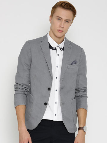 H.E. By MANGO Grey Patterned Single-Breasted Slim Fit Casual Blazer