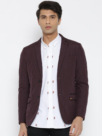 Arrow Sport Burgundy Single-Breasted Body Regular Tailored Fit Quilted Casual Blazer