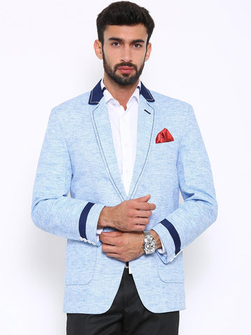 Shaftesbury London Men Blue Regular Fit Single-Breasted Casual Blazer