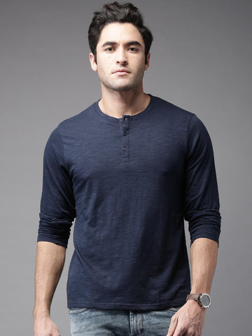 HERE&NOW Men Navy Solid Henley Neck T-Shirt