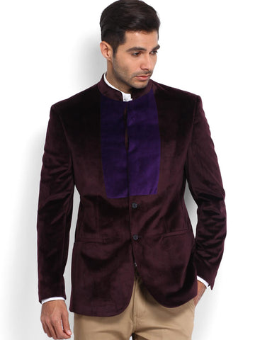 Peter England Men Purple Slim Fit Ethnic Bandhgala Blazer