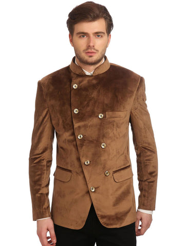 Wintage Men Brown Velvet Double-Breasted Tailored Fit Ethnic Bandhgala Blazer