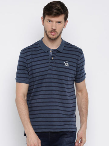 Flying Machine Men Navy Blue Striped Polo Collar T-shirt