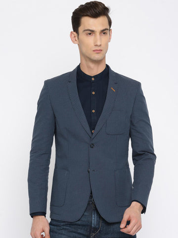 The Indian Garage Co Navy Blue Self-Design Single-Breasted Slim Fit Casual Blazer
