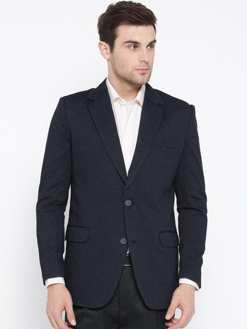 Fort Collins Men Navy Self-Design Slim Fit Single-Breasted Formal Blazer