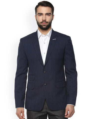 Ennoble Men Navy Blue Checked Single-Breasted Tailored Fit Formal Blazer