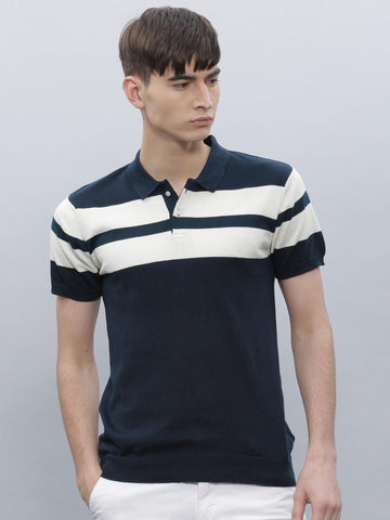 ether Men Navy Striped Polo T-Shirt