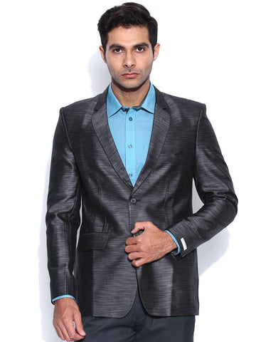 Blazer Quarter Grey Slim Fit Self Design Party Blazer