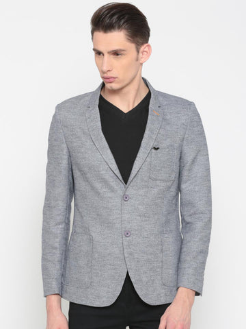 The Indian Garage Co Blue Self Design Single-Breasted Slim Fit Casual Blazer