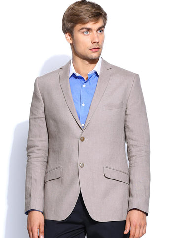 Theme Men Mauve Linen Super Slim Fitted Formal Blazer