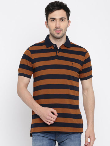 Indian Terrain Men Navy Blue & Brown Striped Polo Collar T-shirt