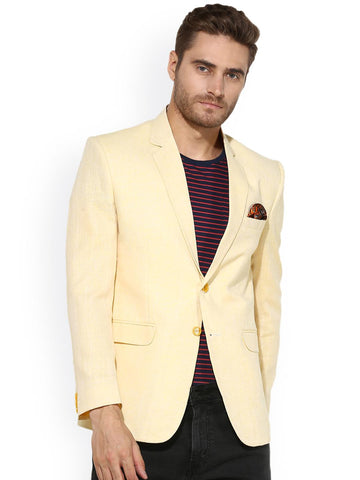 Hangup Cream Single-Breasted Solid Blazer